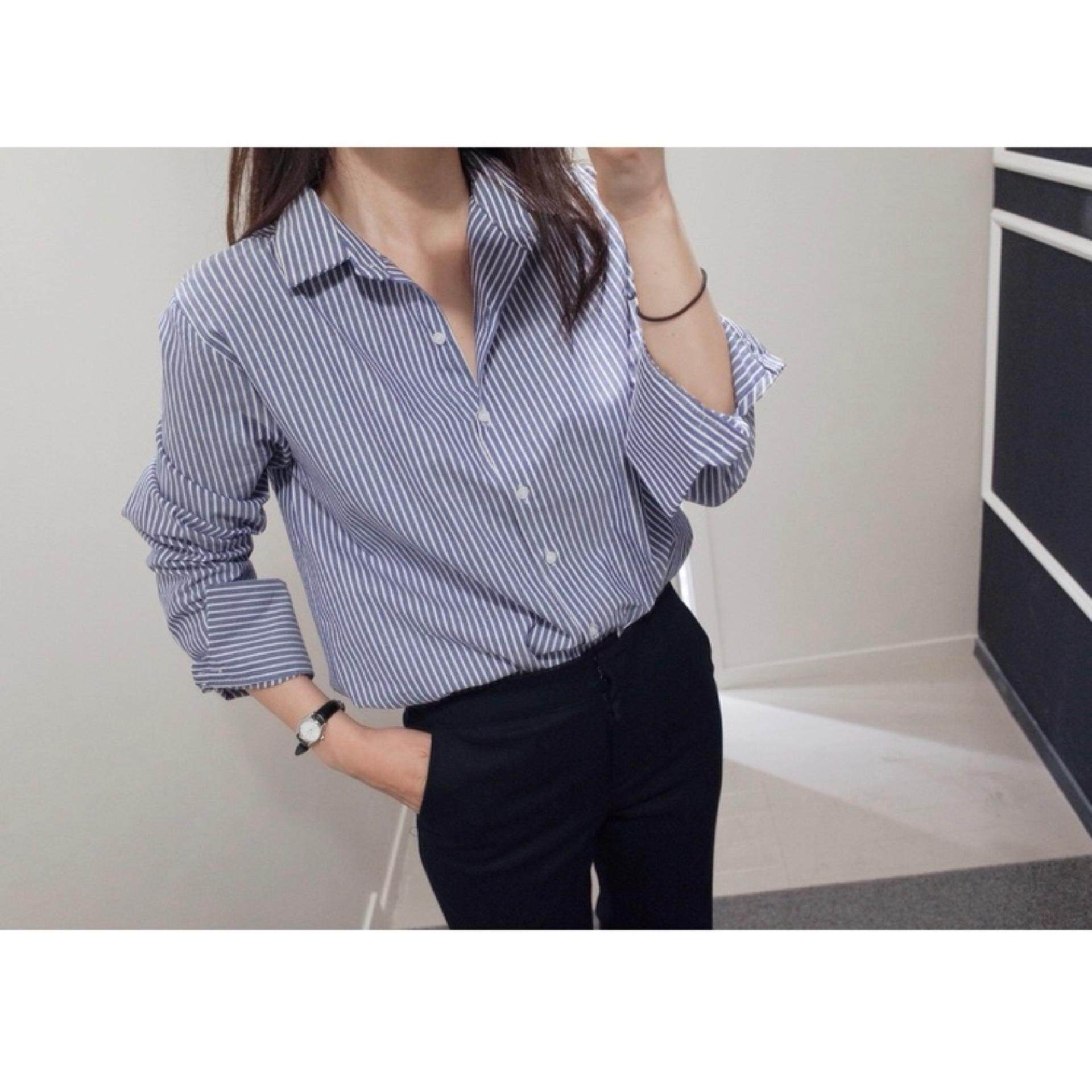 Sale Hot Sell Ol Korean Style Long Sleeve Stripe Blouse Women Cotton Shirt Intl Hong Kong Sar China Cheap