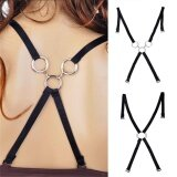 Invisible Underwear Belt Sexy Behind Shoulder Strap Sexy Cross Belt Black 1-Single Ring,25cm,12cm,3cm