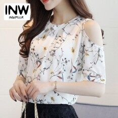 082fd4a6cbc INWPLLR Summer Style 2018 Floral Shirt Women Casual Open Shoulder Blouses  Chiffon Print Blouse Women Ete