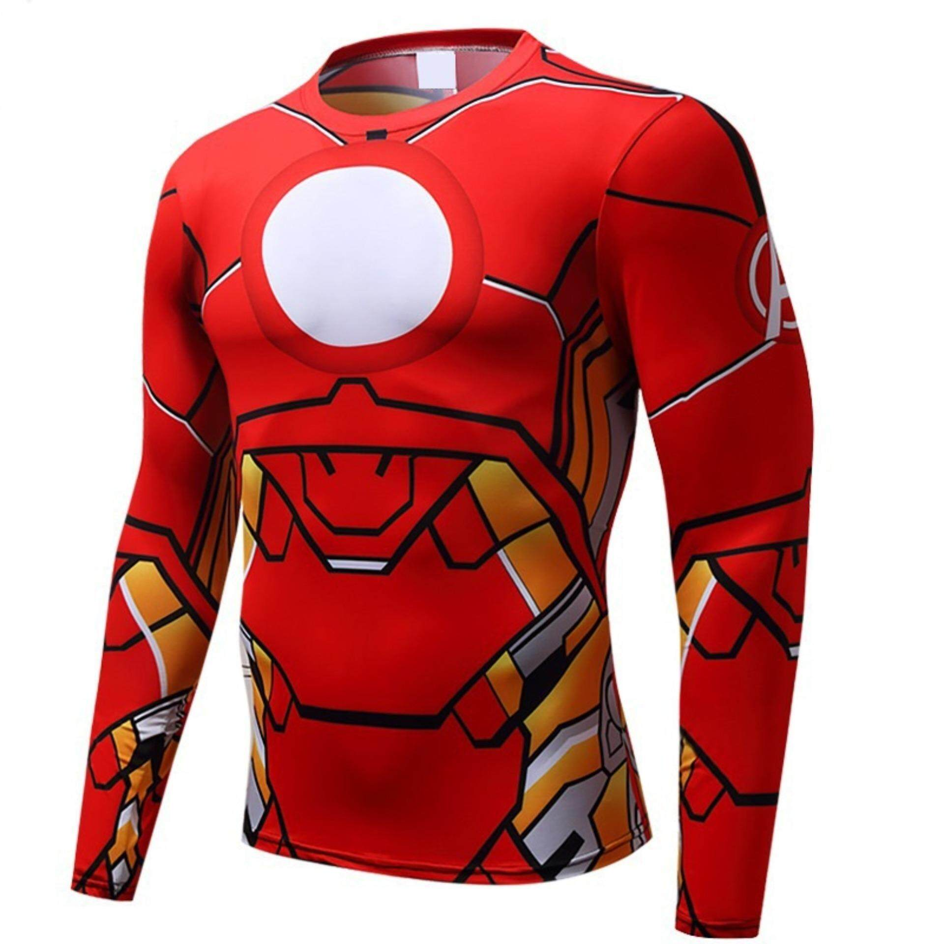 Iron Man Avengers Long Sleeve O-neck Unisex Hero Outdoor Sports T Shirts - intl