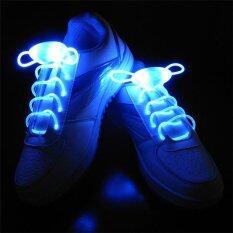 Ishowmall Tali Sepatu LED Tali Sepatu Flash Pencahayaan Cahaya Tali Stik Tali Sepatu Pesta Malam Biru