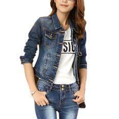 Ishowmall Women Jeans Jacket Long Sleeve Denim Coat Loose Fit Casual Style af0b3dc72e
