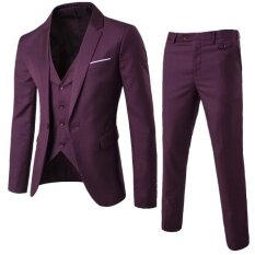 (jacket+pant+vest) Luxury Men Wedding Suit Male Blazers Slim Fit Suits For Men Dark Red By Leo & Amanda.