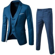 (jacket+pant+vest) Luxury Men Wedding Suit Male Blazers Slim Fit Suits For Men Deep Aqua Blue By Leo & Amanda.