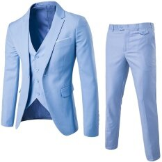 (jacket+pant+vest) Luxury Men Wedding Suit Male Blazers Slim Fit Suits For Men Light Blue By Leo & Amanda.