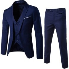 (jacket+pant+vest) Luxury Men Wedding Suit Male Blazers Slim Fit Suits For Men Navy Blue By Leo & Amanda.