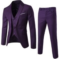(jacket+pant+vest) Luxury Men Wedding Suit Male Blazers Slim Fit Suits For Men Purple By Leo & Amanda.