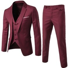 (jacket+pant+vest) Luxury Men Wedding Suit Male Blazers Slim Fit Suits For Men Wine Red By Leo & Amanda.