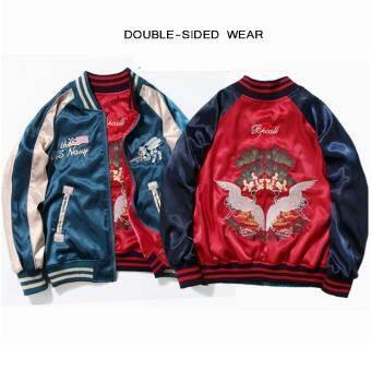 Japanese Men Women Embroidery Jacket Coats Retro Thin Coat Couple Double-sided Wear Baseball Coat Flight Suit Clothing