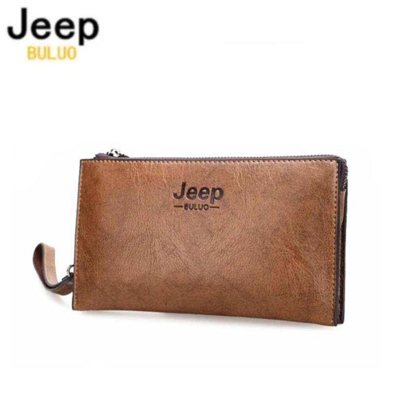 JEEP BULUO Famous Brand Good Leather Day Clutches For Men Fashion Single Wallet Boss Men Bags