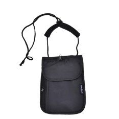 JMKJ Secure Passport Neck Pouch Money Wallet Bag Black Cord OrganizerHolder
