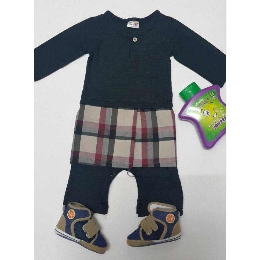 Jumper Baju Melayu Samping Pelikat Bayi Romper Raya (Hitam)-Internasional