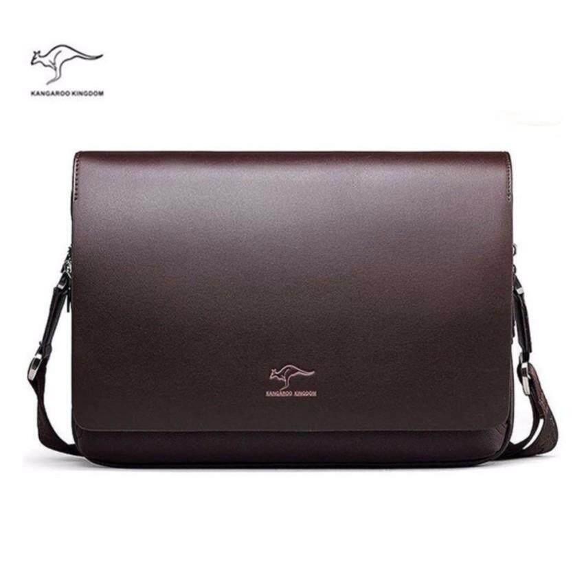 959029fa962 Kangaroo Premium Large Long Men Briefcase Leather Shoulder Cross Body  Horizontal Messenger Bag Business Man -