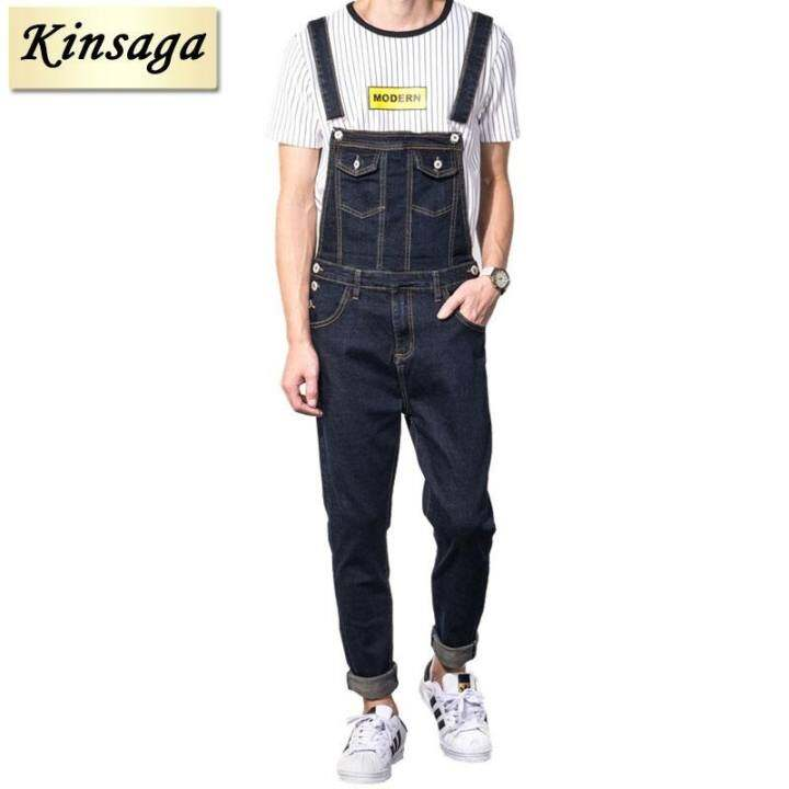 299b321bb1e Kinsaga Men S Plus Size Casual Pocket Vintage Blue Denim Overalls 4Xl 3Xl  Slim Jumpsuits Pants Ripped