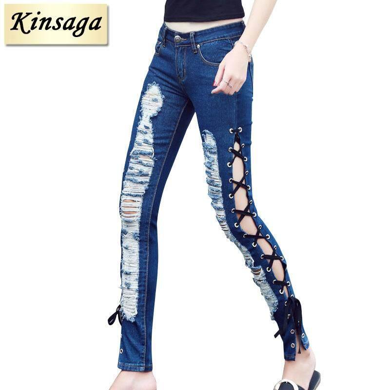 Kinsaga Renda Seksi Jeans Wanita Melubangi Balutan Tali Silang Celana Pensil Terkoyak Lubang Jeans Ketat Elastis