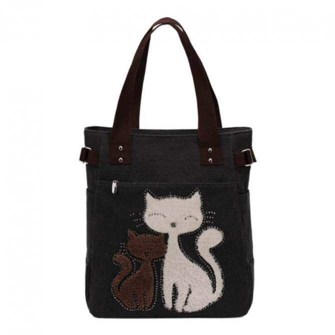 Amart Cartoon Cat Canvas ShoulderBag Handbag Women Lunch Bag Tote (Black) - Intl -