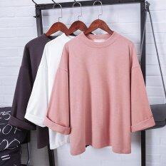 Korean Oversize Tee Batwing Sleeve Loose Terry Cotton T-Shirt Fashion Casual Oversize T Shirt Tops (pink) By Pandaoo Store.
