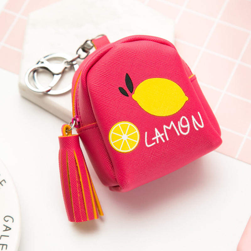 HHS86JUS Kulit Korea Mini Tas Koin Buah Tassled Model Buah-Rose-dengan Model Tas