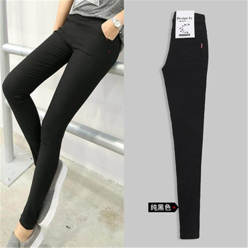 ... Mplus Korean Style Sexy Jeans Women Casual High Waist Elastic Denim Long Pencil Pants Lady Trousers