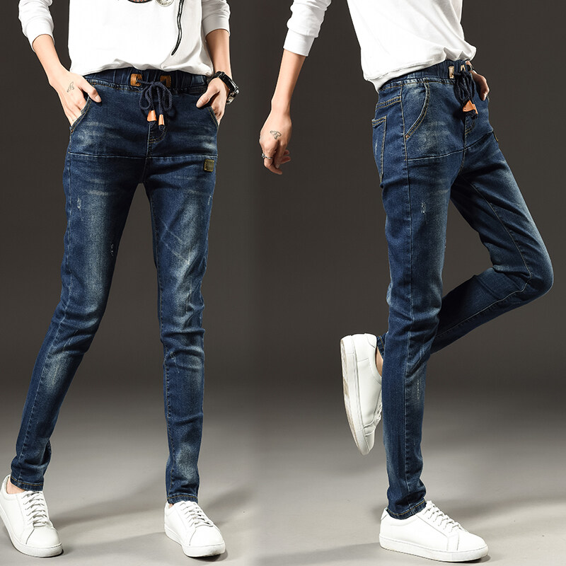 Korean Style Students' Loose Calf Jeans Women 's Tight Waist Loose Jeans Broken Harlan