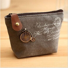 Ladies Canvas Classic Coin Purse Little Key Car Pouch Money Bag Mini Short Coin Holder Wallet Dary Grey By Milla Apple Tree Store.