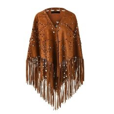 Ladies' Elegant Suede Open Poncho Shawl Wrap With Laser Cut Patterns And Statement Fringing Tassel By Martop.