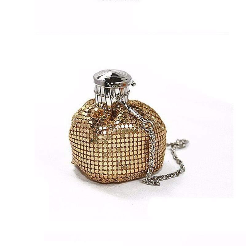 Lady Bucket Handbag Mini Aluminum Shoulder Bag Evening Party Bling Clutch Purse