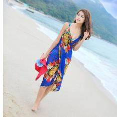 Lalang Women Deep V Wrap Chiffon Swimwear Bikini Cover Up Beach Dress (blue) By Mode Shop.