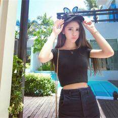 LALANG Women Scoop Neck Crop Tops Casual T-shirt (Black)