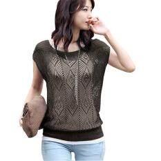 LALANG Women Tops Hollow Out Short Batwing Sleeve Knit T-Shirt (Black)