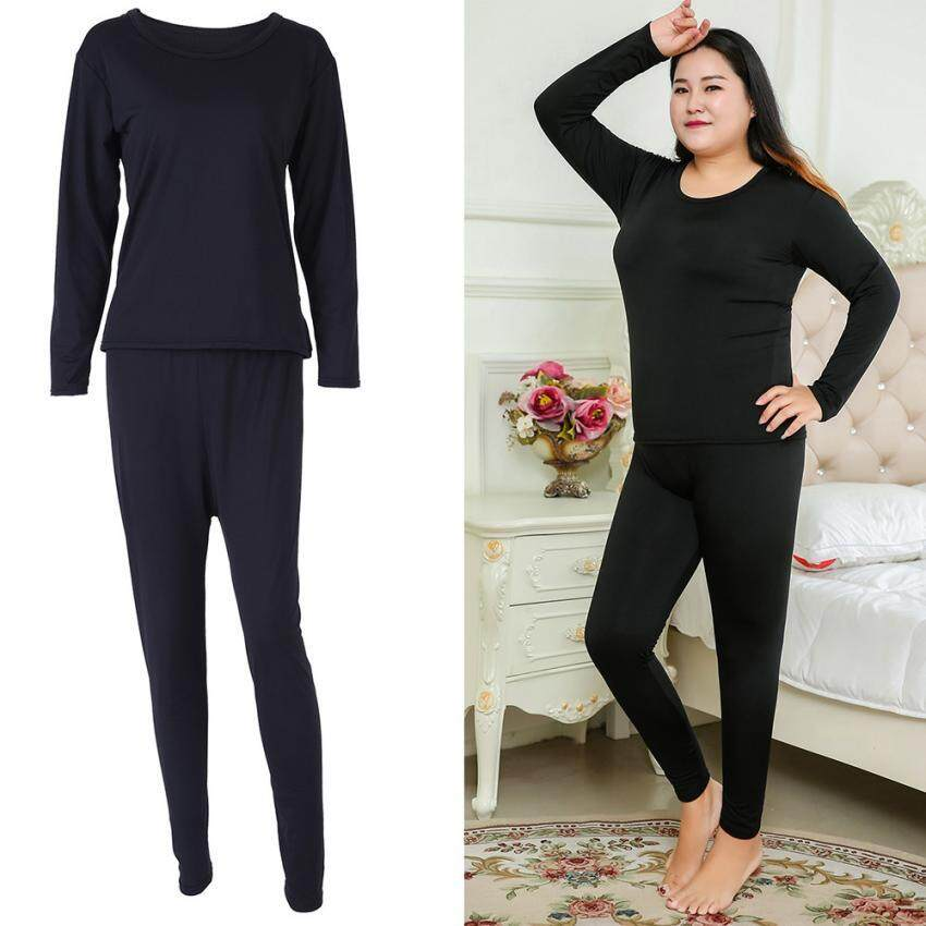 Large Size Women Thermal Underwear Top & BottomSet Spring & Winter Sleepwear (Black 4XL) - intl