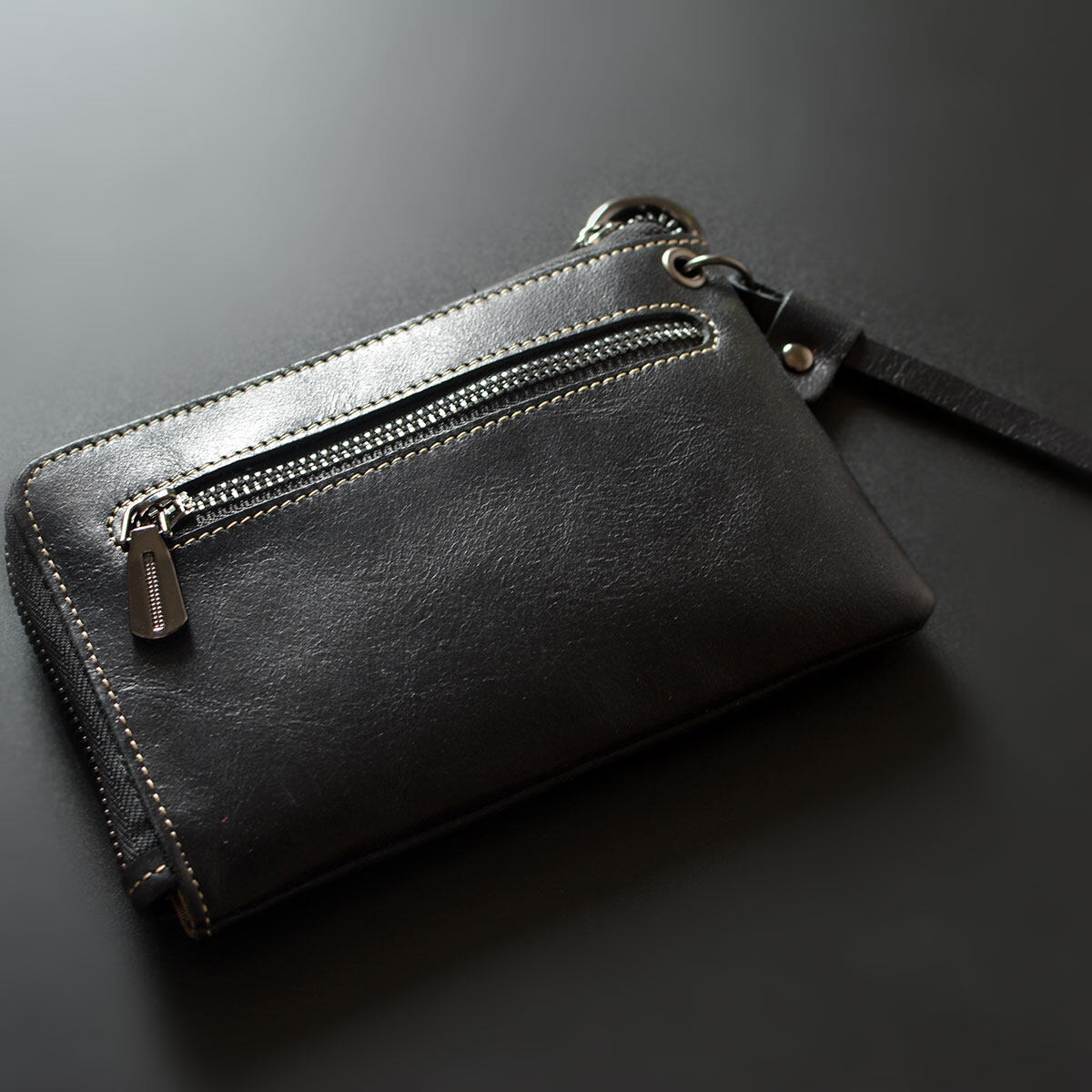 Leather mini zip coin loose money bag small purse (Black)