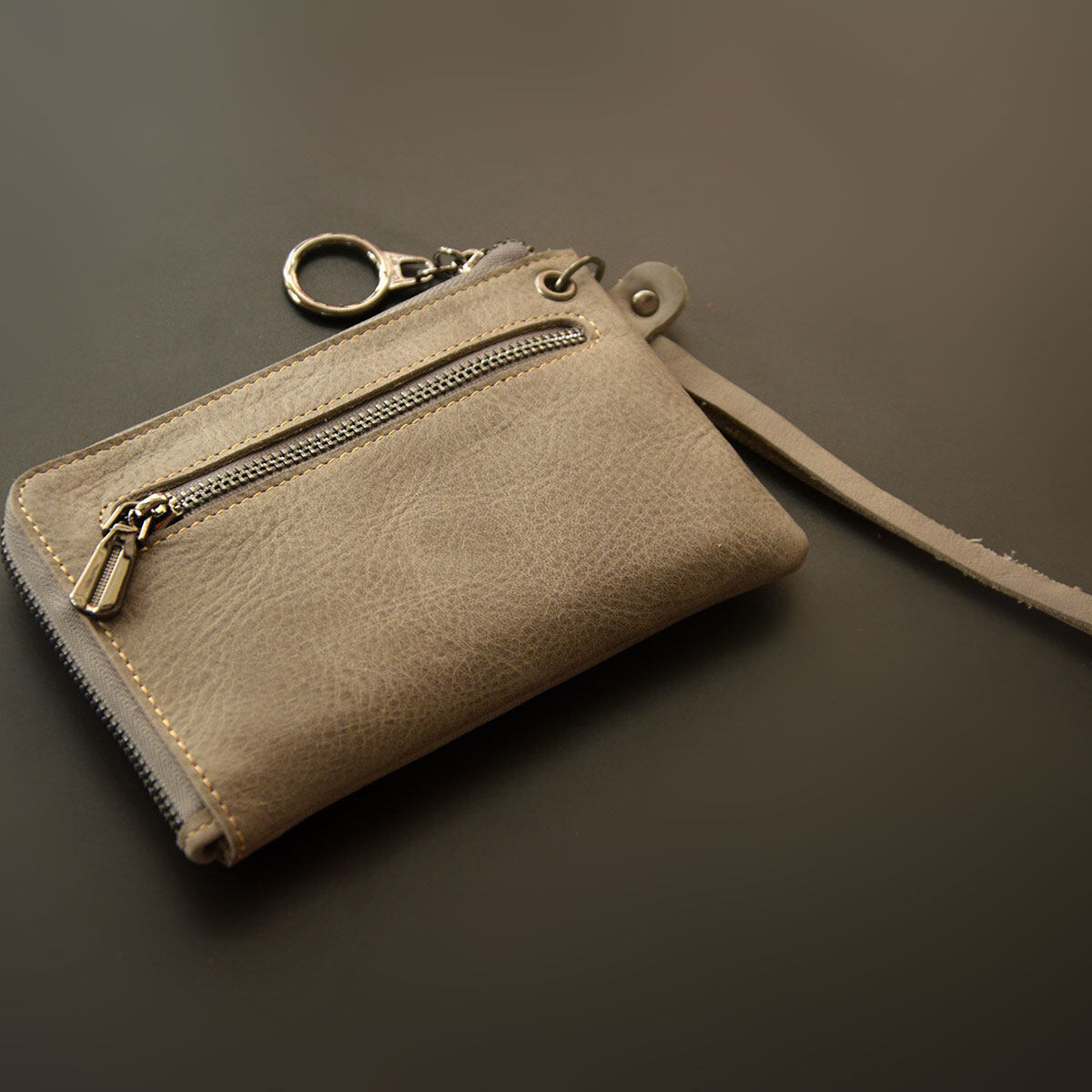 Leather mini zip coin loose money bag small purse (Gray)