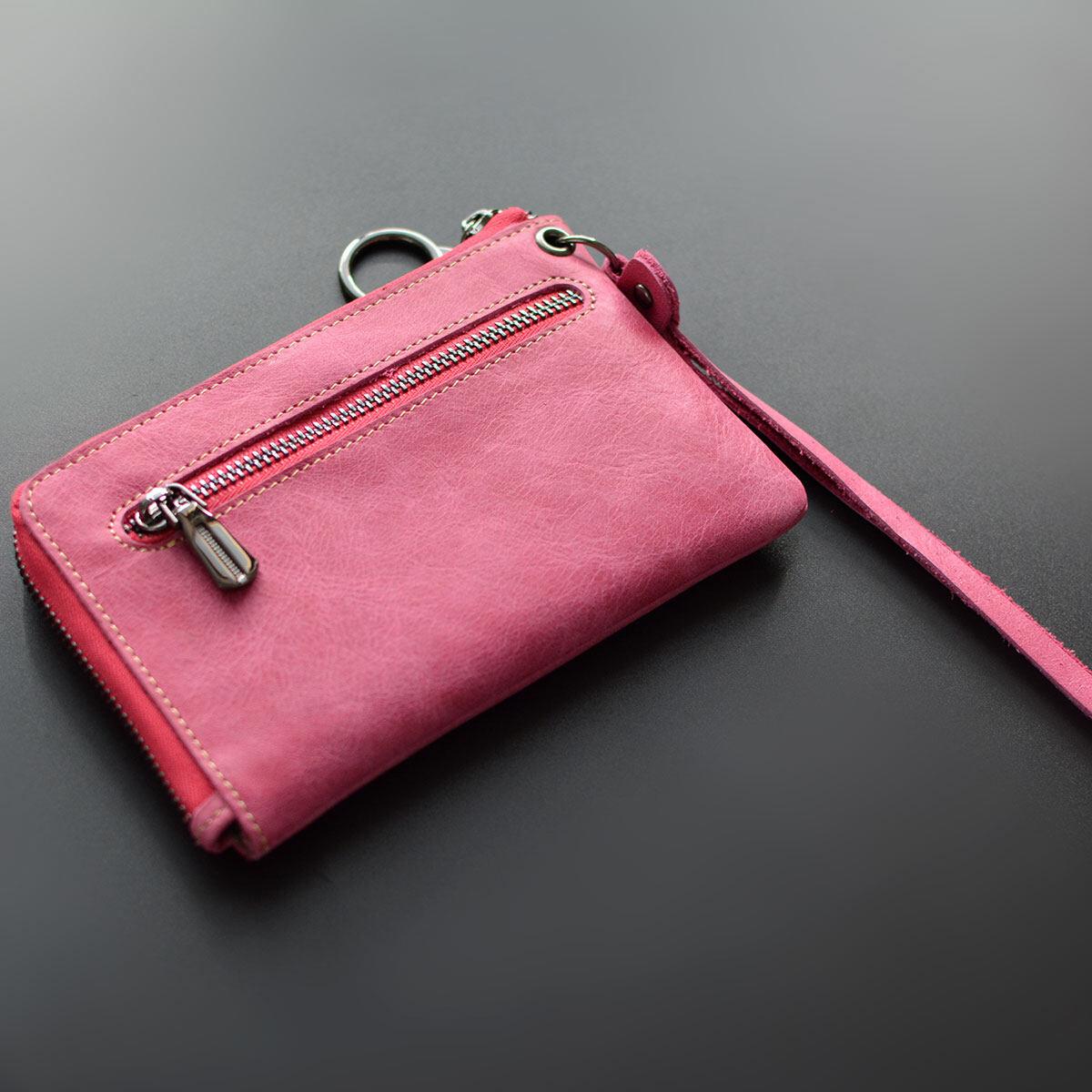 Leather mini zip coin loose money bag small purse (Peachy)