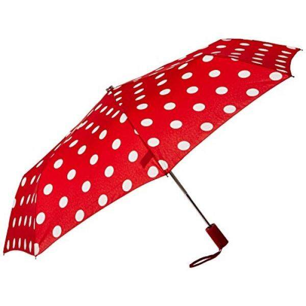 Leighton Wanita 3 Kali Lipat Bulat Auto O C, Polka Dot Merah/Putih, Satu Ukuran-Intl