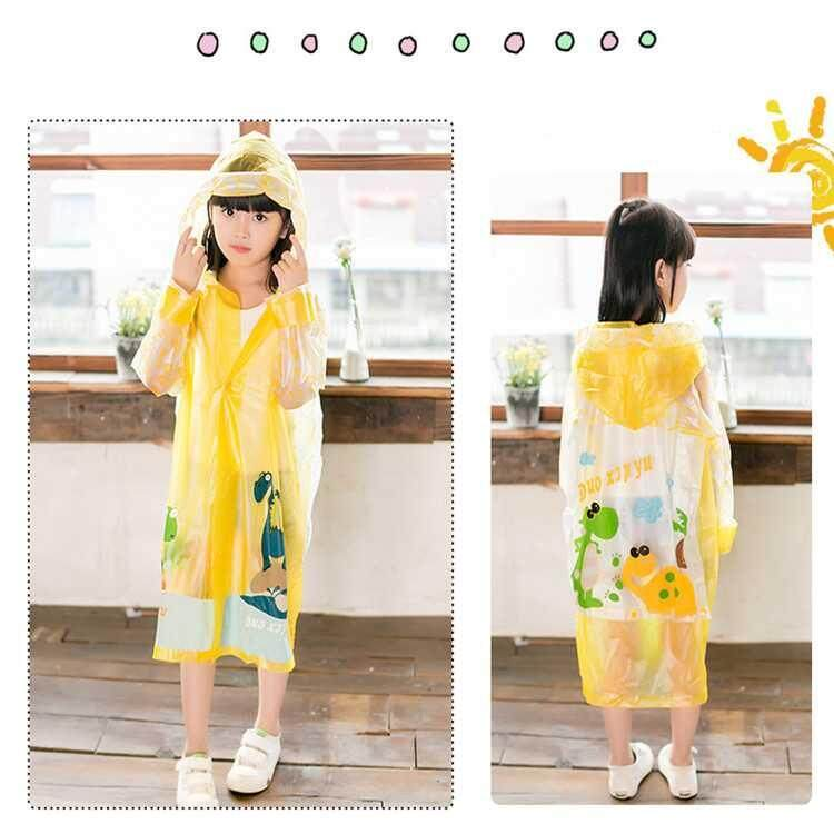 Lemon Yellow Waterproof Kids Boys Girls Cute Raincoat Children Cartoon Outdoor Tasteless Rain Coat By Xinyuan Store.