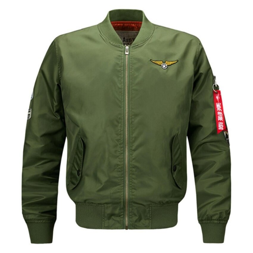 ZTStore Men Bomber Jacket Air Force One Slim Fit Pilot Bomber Jacket Coat(Army Green)(Int:L)