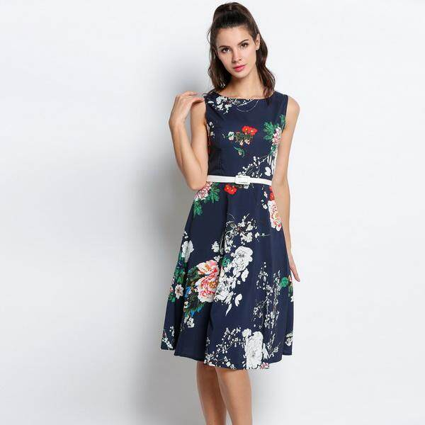Sale Linemart Vintage Style Women O Neck Sleeveless Floral Print Swing Party Dress W Belt Dark Blue Intl Singapore