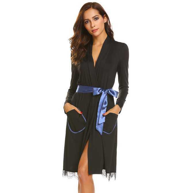 e1adab039 Linemart Women Long Sleeve Pockets Lace-trimmed Sleepwear Robe with Belt (  Black )