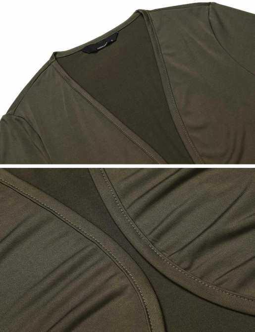 Linemart Nữ Nhún Vai Dài Tay Hở Mặt Trước Cropped Slim Cardigan (Xanh Quân Đội)-quốc tế