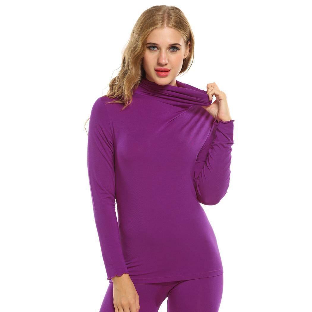 2dae1ca86f Linemart Women Thermal Underwear Solid Turtleneck Long Sleeve Top Sleepwear  ( Rose ) - intl