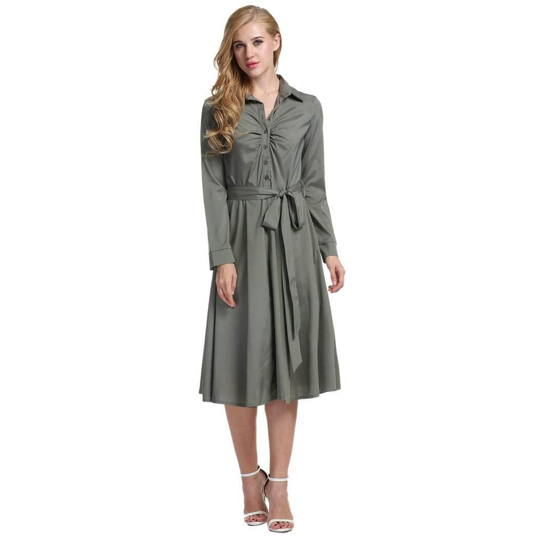 Linemart Wanita Menolak Kerah Baju Kemeja Lengan Panjang Hiasan Sabuk Swing Hem Casual Slim Calf Dress