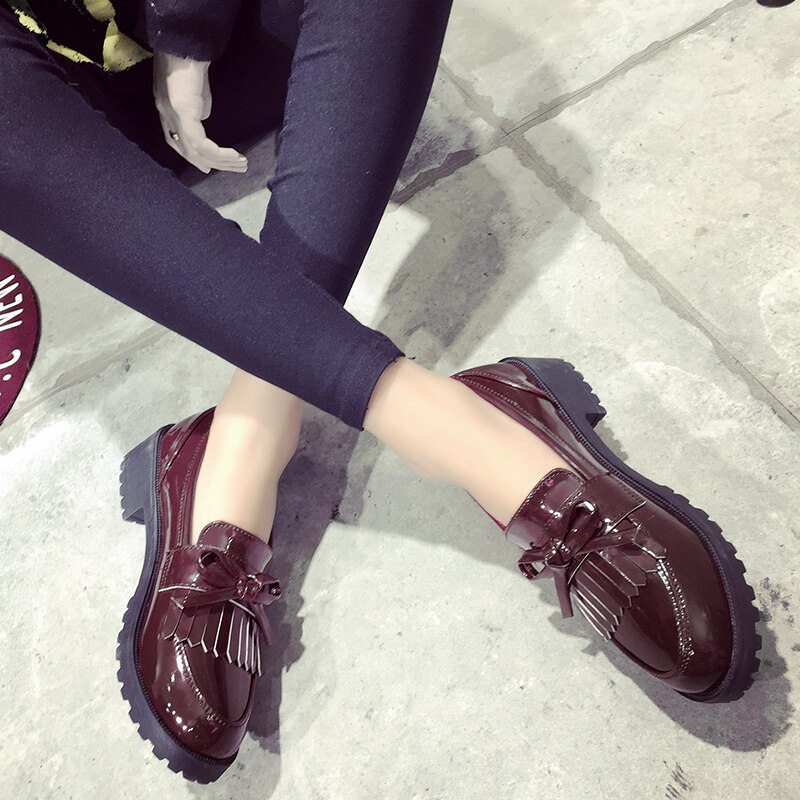 Loafers Korean autumn new women shi shang xiao leather shoes Pumps (Wine red color)