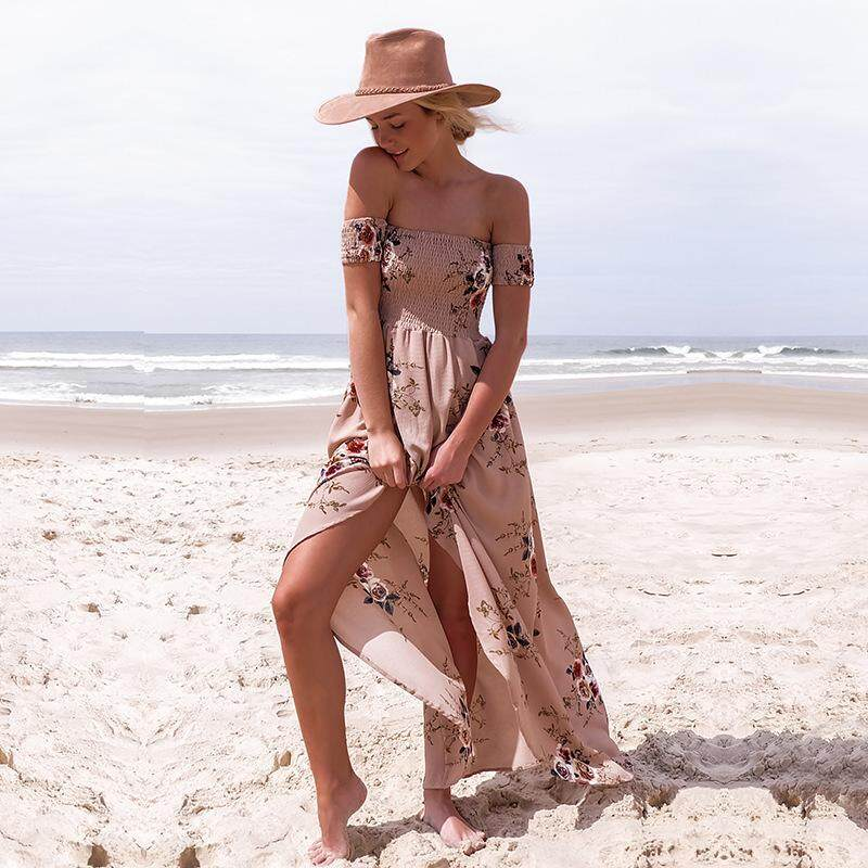 Sale Long Dress Women Off Shoulder Beach Summer Dresses Floral Print Vintage Chiffon White Maxi Dress Vestidos De Festa Intl China