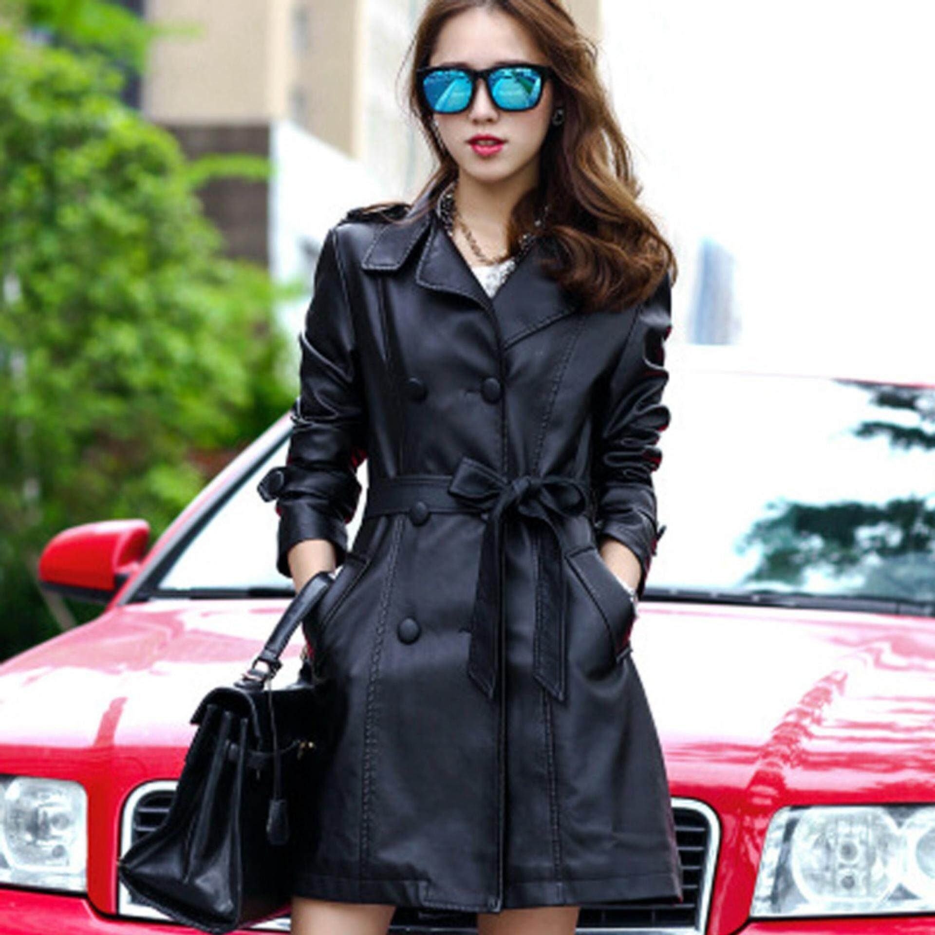 20a90073e05fa Long Leather Coat Female 2017 Autumn Women s High-grade PU Leather Jacket  and Solid color Fashion and Casual Windbreaker(black)