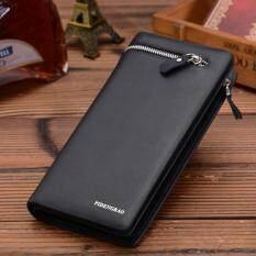Long Wallet Credit Card Wallet Big Capacity Mens Wallet Fashion Mens Purse(Black)