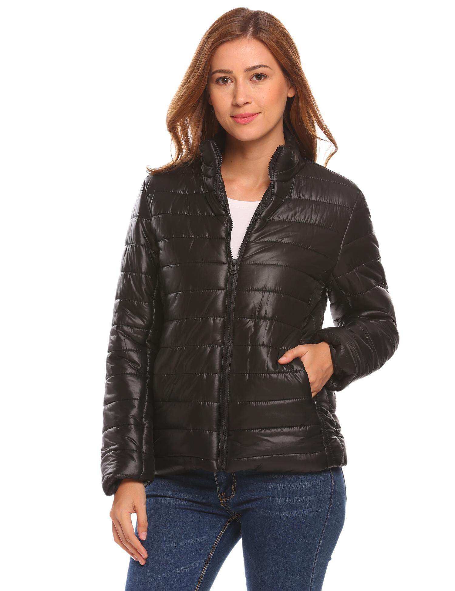 Harga Murah Sunwonder dan Wanita Zip Up Jaket Bulu Angsa Kasual Kerah Lurus Lengan Panjang (Hitam)-Intl