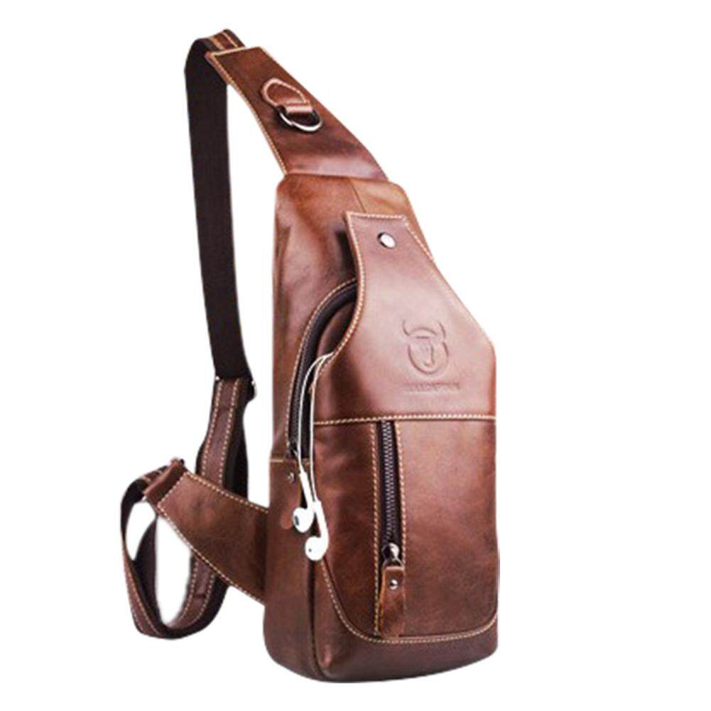 Who Sells The Cheapest Lumiparty Mens Genuine Leather Sling Bag Single Shoulder Bag Men Chest Crossbody Satchel Waist Pack Color Brown Intl Online