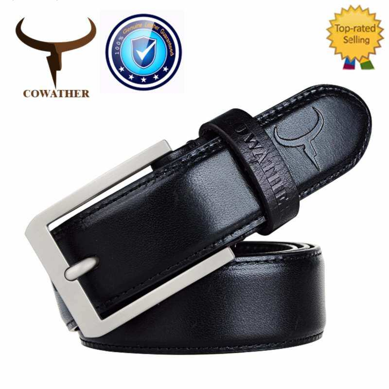COWATHER Men's Top Cow Leather Ratchet Dress Belt with Single Prong Buckle Strap Male Jeans Belts