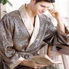 Mewah Pria Sutra Piama Satin Cetak V-Leher Lengan Panjang Ukuran Plus Piyama Jubah Jubah Mandi Baju Tidur